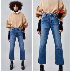 Zara Straight Cut Hi Rise Authentic Blue Jeans 28